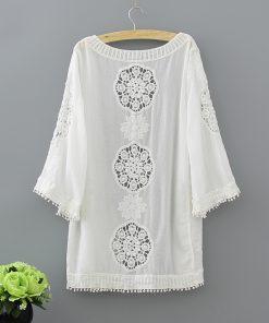 Fashion loose plus size hollow lace women blouse shirt summer white Cardigan blouse women shirt feminine blouses blusas 0335 40 1