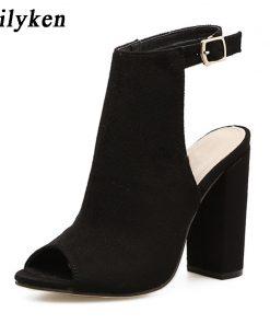Eilyken 2018 New Summer Fashion Open Toe Women Sandals  Ankle Strap Square heel Back Strap Gladiator Sandals For Women 1