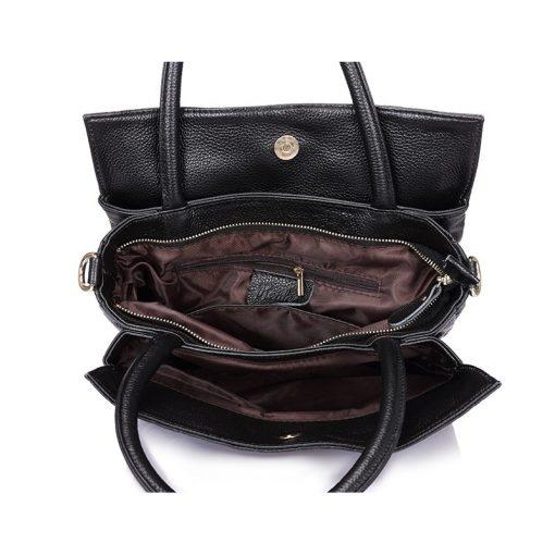 REALER brand genuine leather handbag female leather black tote bag high quality floral embossed handbag ladies shoulder bag 5