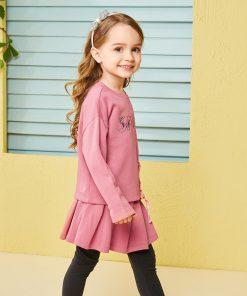 Balabala child clothing suit set toddler girl clothing girls costume o-neck long sleeve Pullover sets with Belt clothing sets  1