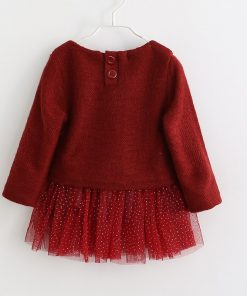Baby girl dress Knitting Princess Dress spring winter Party for Toddler Girl christening dress Clothing Long sleeve Kids Clothes 1