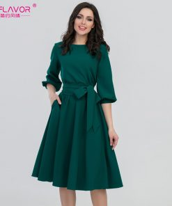 S.FLAVOR 2018 Women Fashion vintage Dress Green O-Neck Elegant A line dress puff sleeve vestidos Party autumn dress no pocket
