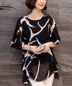 new 2018 summer short sleeve women's clothing  fashion plus size 5XL Chiffon women blouse Shirt loose woemn's tops blusas 60A 30
