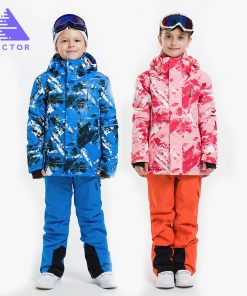VECTOR Boys Girls Ski Suits Warm Waterproof Children Skiing Snowboarding Jackets + Pants Winter Kids Child Ski Clothing Set  1