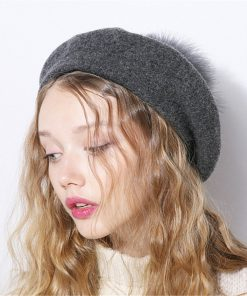 Xthree Winter wool beret hat with Ostrich fur pom pom knitted hat for women girl solid fashion cap 1