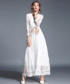 Simple Ankle Length Lace Wedding Dresses White Three Quarter Sleeves Sash Bridal Gowns CG00304WH Elegant Women Vestidos De Novia