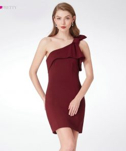Burgundy Cocktail Dresses Ever Pretty EP04020BD Modern Sleeveless Short Vestido Coctel One Shoulder Straight Vestidos De Coctel 1