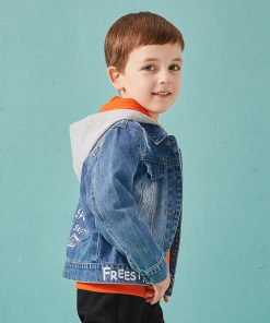 Balabala cotton jeans jacket for boys jacket for boy spring-autumn pattern on the back Hooded jacket clothes for boys enfant 1