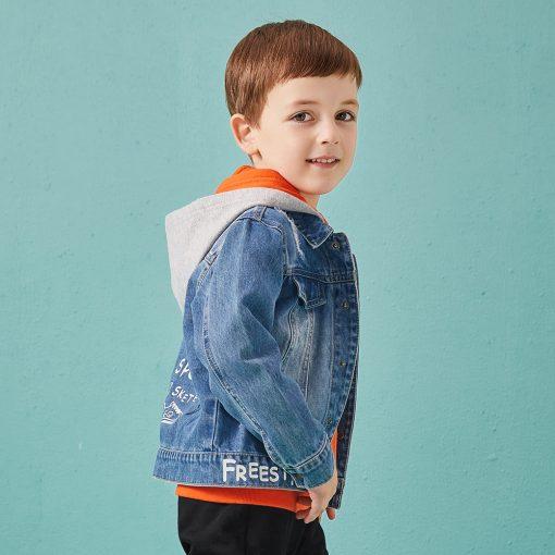 Balabala cotton jeans jacket for boys jacket for boy spring-autumn pattern on the back Hooded jacket clothes for boys enfant 1
