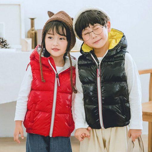 Kids vest Coats shiny gold silver Toddler girl vest baby boy hooded jacket winter autumn waistcoats jacket for girls Outerwear 2
