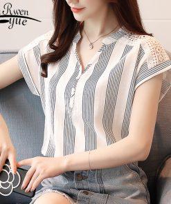 2018 Summer Chiffon Women Blouse shirts short Sleeve Striped blouses women' tops blusas fashion V-neck women's clothing D635 30