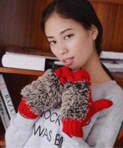 VISNXGI New 8 Colors Girls Novelty Cartoon Winter Gloves For Women Knit Warm Fitness Gloves Hedgehog Heated Villus Wrist Mittens 1