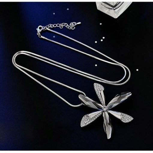 RAVIMOUR New Long Necklace Women Silver Chain Collares Mujer Big Flower Crystal Necklaces Pendants Fashion Korean Jewellery 2018 5