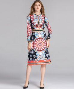 Qian Han Zi New Fashion Runway Suit sets Women's Long Sleeve Pleated Shirt and Pattern Print Vintage Skirt Set 1