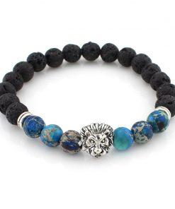 DIEZI Lava Stone Onyx New Buddha Bracelets For Women Gold Jewelry Black Yoga bracelet Men Mujer Pulseras bracelets bangles 1