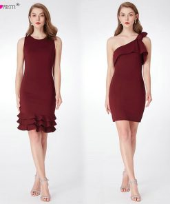 Burgundy Cocktail Dresses Ever Pretty EP04020BD Modern Sleeveless Short Vestido Coctel One Shoulder Straight Vestidos De Coctel