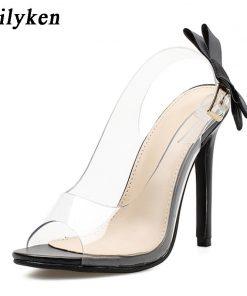 Eilyken Women Sandals 2018 Fashion Butterfly-knot  Clear Stilettos Slingback PVC Sandals Wedding Dress Pumps Shoes size 35-40 1