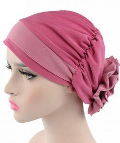 VISNXGI 2018 Women Muslim Hat 12 Colors Flower Head Cap Scarf Fashion Soft Caps Lady Summer Spring Beanies Elastic Cloth Towel 1