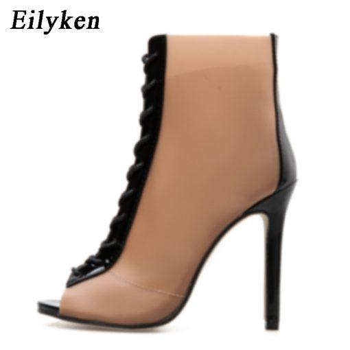 Eilyken 2018 New Women Orange PVC Ankle Boots Peep Toe Transparent Women Boots Rubber Sole Autumn Cross-tied Booties Shoes 2