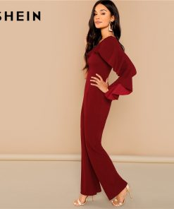 SHEIN Burgundy Office Lady Elegant Flounce Embellished One Shoulder Tailored Solid Jumpsuit 2018 Autumn Casual Women Jumpsuits 1