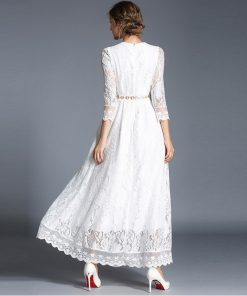 Simple Ankle Length Lace Wedding Dresses White Three Quarter Sleeves Sash Bridal Gowns CG00304WH Elegant Women Vestidos De Novia 1