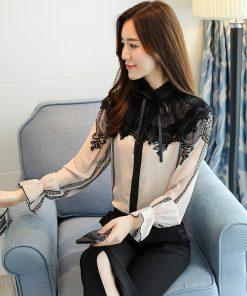 fashion 2018 women blouse shirt long sleeves beige chiffon patchwork women's clothing office lady lace women tops blusas D253 30 1