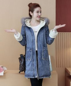 New Autumn Winter Women lambswool jean Coat Long Sleeve Warm Jeans winter fur Coats Outwear Denim Jacket long parkas Z5852 1