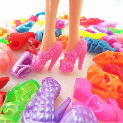 For Original Barbie  5PCS Barbie Doll Clothes &10 Pairs of Random Shoes Doll Accessories Fashion Party Princes Dress Girls Gift 2