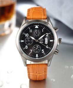 BGG Luxury Top Brand Fashion Casual Leather Quartz Wristwatch Analog Sport Watch Men Military Clock Man Relogio Masculino 1