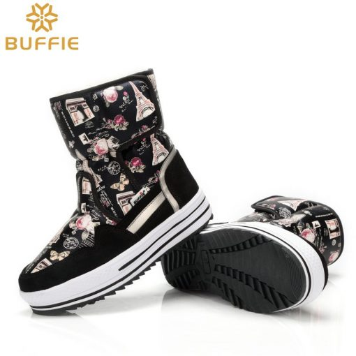 2018 New brand woman boots warm winter shoes flower waterproof wearing female fashion hot  thick fur high quality  buckle style 4