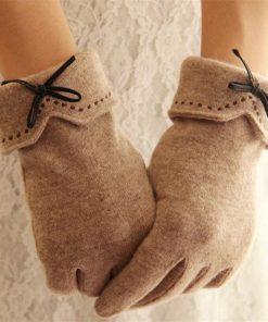 VISNXGI 2018 Design Fashion New Brand Women's Winter Wool Gloves Elegant Warm Touched Bow Glove Mittens Cashmere Mitaine Guantes