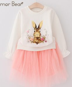 Humor Bear 2018 Autumn Baby Girl Clothes Cartoon Print Suit Girls Clothing Sets Love Long Sleeve + dress Casual 2PCS Girls Suits