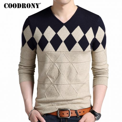 COODRONY Cashmere Wool Sweater Men 2018 Autumn Winter Slim Fit Pullovers Men Argyle Pattern V-Neck Pull Homme Christmas Sweaters