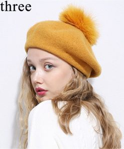 Xthree Winter wool beret hat with Ostrich fur pom pom knitted hat for women girl solid fashion cap