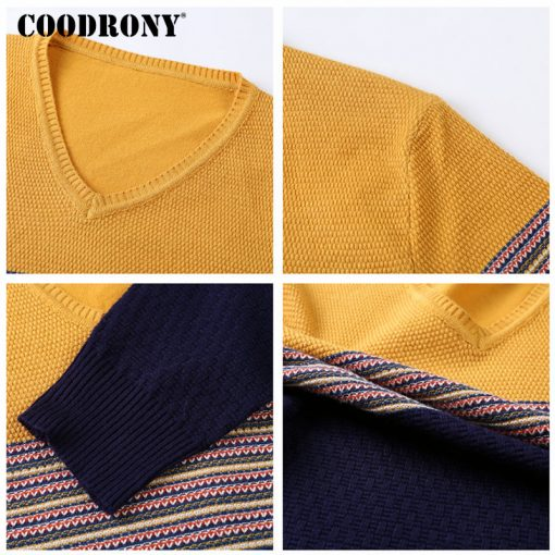 COODRONY 2018 New Arrival Hit Color Striped Patchwork Pullover Men V-Neck Pull Homme Casual Knitted Cotton Wool Sweater Top 6646 4