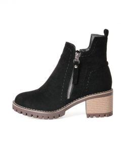 ESVEVA 2018 Women Boots Western Style Platform 1.5cm Short Plush Ankle Boots Square High Heel Round Toe Ladies Boots Size 34-43 1