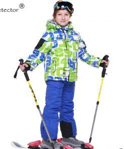 FREE SHIPPING skiing jacket+pant snow suit fur lining -20 DEGREE ski suit  kids winter clothing set for boys