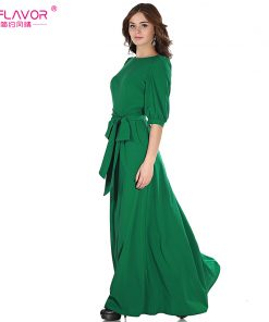 S.FLAVOR Women solid color long dress Elegant O-neck lantern sleeve casual vestidos for female 2018 women autumn winter dress 1