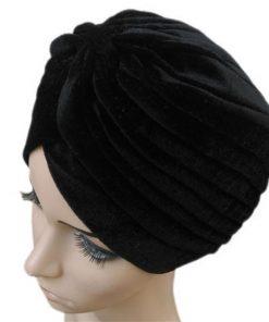 VISNXGI 2018 New Europe Women Winter Fashion Black Dark Blue Green Color Velvet Muslim Turban Hats Indian Caps High Quality 1