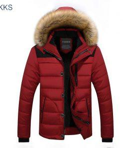 FGKKS  Winter Jacket Men Fashion Design Brand Parka Men Clothing Zipper Coat Male Thick Warm Fur Collar Hooded Parka 1