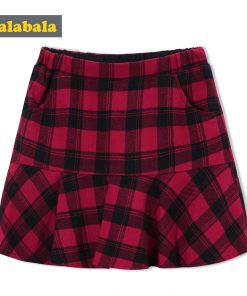 balabala Children Skirt Autumn 2018 New Plaid Casual Girls Short Skirt Irregular Hem Classic Plaid Fashion Girl Skirts For Kids