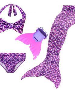 3pcs Bikini Set Mermaid Tail Swimwear with Swimmable Monofin Filpper Girls Mermaid Tail For Swimming Cosplay Halloween Costume