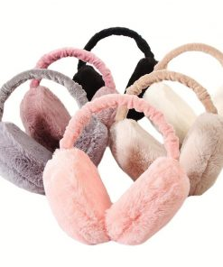 VISNXGI Fashion Rabbit Fur Earmuffs For Women Brand Winter Earmuffs Warm Fur Ear Warmer Ear Cover For Girls Solid Color Earmuffs 1