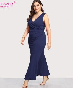 S.FLAVOR Women V-neck sexy nightclub vestidos Hot sale XL-5XL women plus size sleeveless Navy long dress sheath Autumn dress