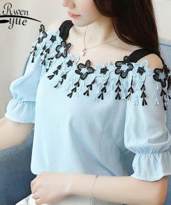 2018 fashion sexy slash neck women's clothing summer short sleeve chiffon women blouse shirt sweet women's tops blusas D690 30