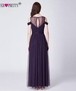 Purple Long Evening Dresses Ever Pretty A Line Tulle Off The Shoulder O-Neck Party Gown Formal Dress Women Elegant Abendkleider 1