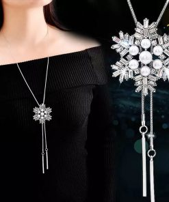 RAVIMOUR Crystal Snowflake Pendants Necklaces Statement Choker Simulated Pearl Jewelry Long Necklace for Women Sweater Chain New