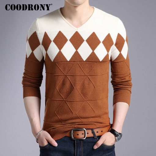 COODRONY Cashmere Wool Sweater Men 2018 Autumn Winter Slim Fit Pullovers Men Argyle Pattern V-Neck Pull Homme Christmas Sweaters 2