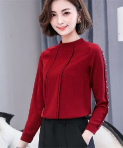 Long Sleeve Women Blouses Autumn Casual Fashion Loose Chiffon Shirts O-Neck Solid Color Blouses Office Work Wear Beading Tops 1