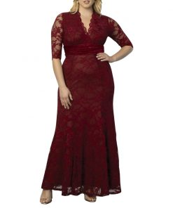 Burgundy Mother Of The Bride Dresses Plus Size Elegant A Line V Neck Half Sleeve Lace Wedding Party Gowns Robe De Soiree 1